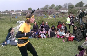 'Baz the Bee' aka Claire Boot entertains and educates the crowd